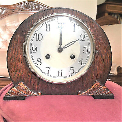 """Vintage """"Foreign"""" Wooden Mantel Clock Chiming but not Time-keeping"""