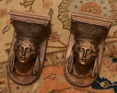 Pair of Russian Neo Classical Style Bronze Wall Bracket Shelf Sconces