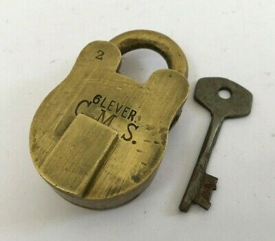 Old Vintage Solid Brass Lock With Key Rich Patina Rear Collectible 6 Lever C M S