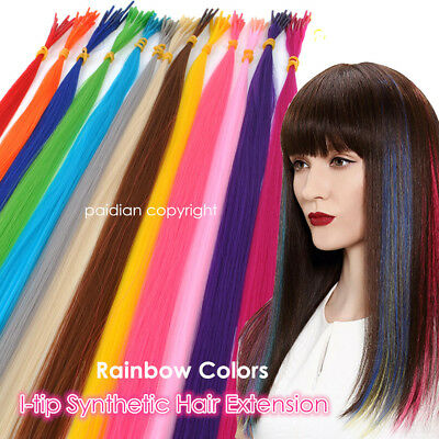 20'' Lot 5/20/50/100s Solid Colors Synthetic Fiber I Tip Feather Hair Extension