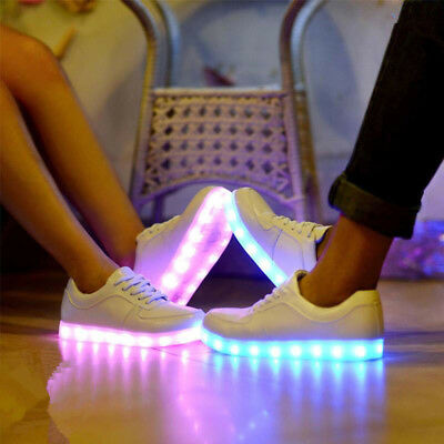 Flashing LED Light Up Shoes Luminous Sneaker Men Women Leather Casual Trainer US