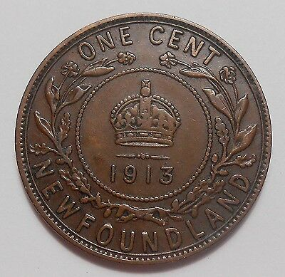 1913 Newfoundland Large Cent F-VF Nice Early Date King George V OLD Nfld. Penny