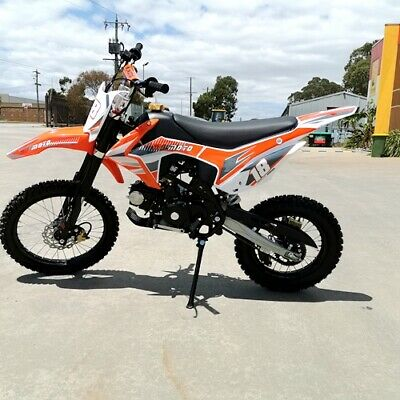 125Cc Pit Motor Dirt Bike Trail Motocross Pro Ele-Start 14/17 Big Wheel Orange