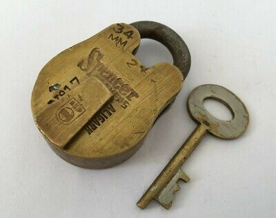 Old Antique Solid Brass Padlock Lock With Key Strong Nice Marking Spencer