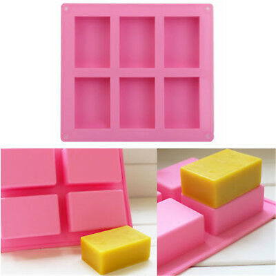6-cavity Plain Rectangle Silicone Mould for Homemade Craft Soap Molds Mould DIY