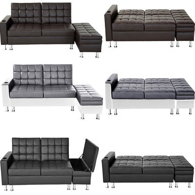 Faux Leather Sofa W Storage Box Ottoman Cup Holder Recliner Sofa