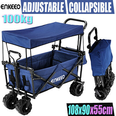 Adjustable Utility Wagon Cart Folding Garden Shopping Trolley+Removable Cover AU