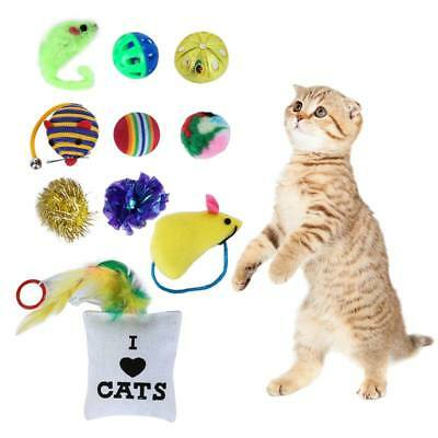 AU Pet Cat Toys Set Cloth Yellow Ball Bell Pillow Toys Rope Mouse Sisal Catnip