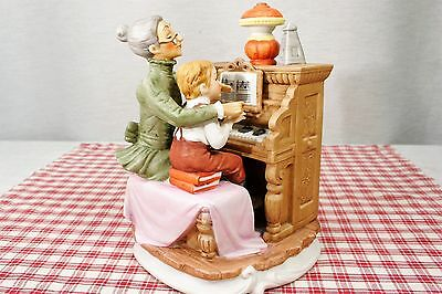 "Lefton China 2583 Figurine, Seated Piano Teacher and Boy, 7"" H, Mint Condition!"