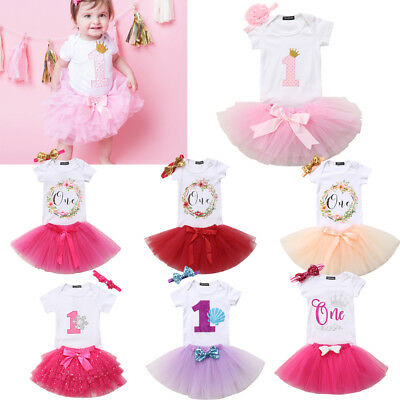 UK Baby Girl First 1st Birthday Outfit Romper Tutu Skirt Dress Party Headband