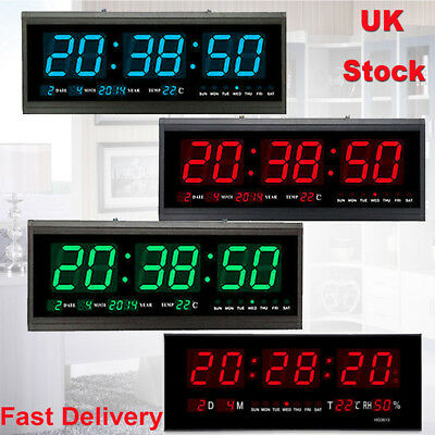 Digital Large Big Jumbo LED Wall Desk Alarm Clock w/ Calendar Temperature 12/24h