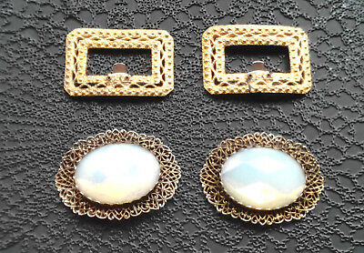 Antique Victorian 2 Pairs Shoe Clip Huge Opal Glass Cabochon Textured Gold Metal