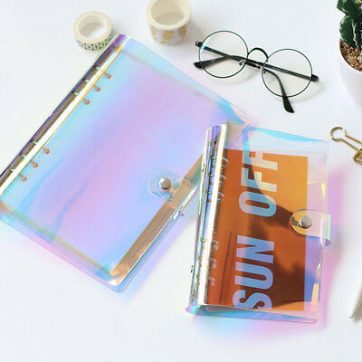 Rainbow Laser Binder Transparent Notebook Diary Cover Glitter Loose Leaf Ring