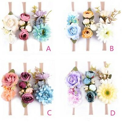 3Pcs Baby Girls Flower Headband Floral Headwear Floral Crown Photography Props