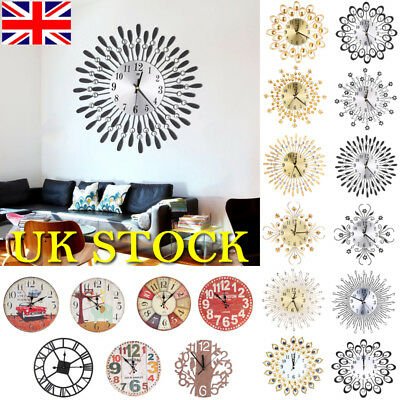 UK Wall Clocks Art Large Watch Movement Home Room Office Cafe Decoration Clock
