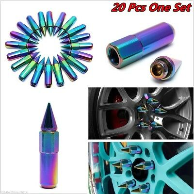 20 Neo Chrome M12X1.25 Spiked Extended Tuner 60mm Aluminum Wheels Rims Lug Nuts