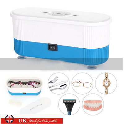 UK Ultrasonic Jewelry Cleaner Denture Eye Glasses Coins Silver Cleaning Machine