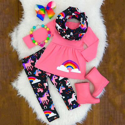 UK Kids Baby Girl Unicorn Long Sleeve Top Dress + Leggings Pants Clothes Outfit