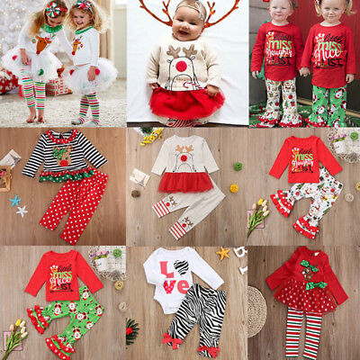 Xmas Christmas Toddler Kids Child Girls Baby Clothes Dress Tops+Pants Outfit Set