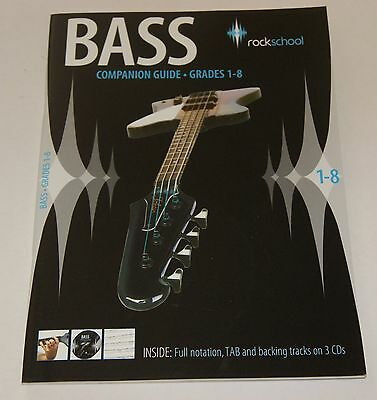 Rockschool Bass Guitar Companion Guide Grades 1-8 Lernmethode Notenbuch 3CD NEU