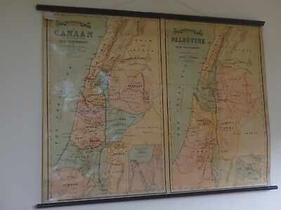 Vintage Pull Down Sunday School Map Of Palestine, Wall Hanging