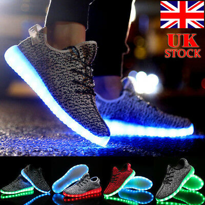 UK Men Women LED Light Up Trainer Unisex Lace Up Sneaker Sport Casual Shoes Size