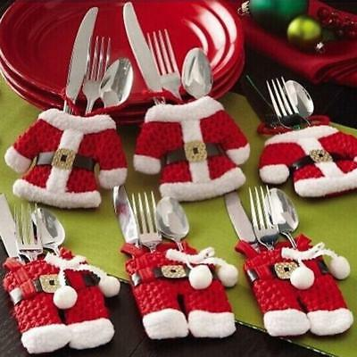 Tableware Covers Christmas Theme Silverware Bag Decorations For 6 Pieces Clothes