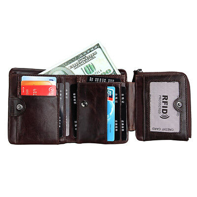Men's RFID Blocking Leather Wallet Slim Outer Card Slot Thin Trifold Purse