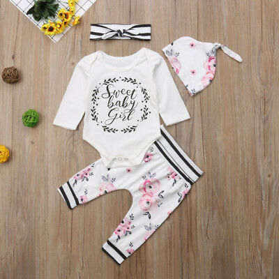 4Pcs Newborn Baby Girl Floral Outfits Clothes Romper+Pants Headband Hat