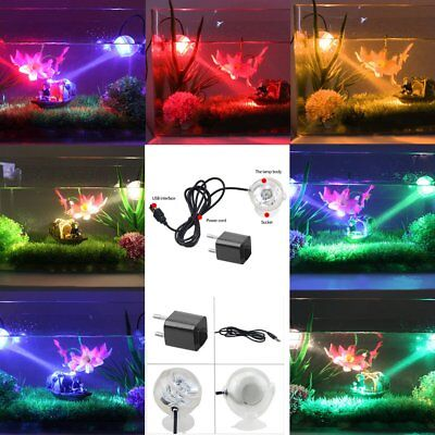 LED Night Light Bulb Aquarium Bubble Fish Tank Lamp Colors PVC Amphibious GT