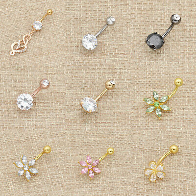 Fashion Piercing Navel Rings Surgical Crystal Rhinestone Belly Button Jewelry