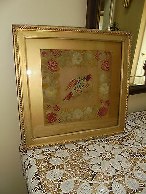 Antique Folk Art Bird/Parrot Needlepoint Petit point Picture Frame