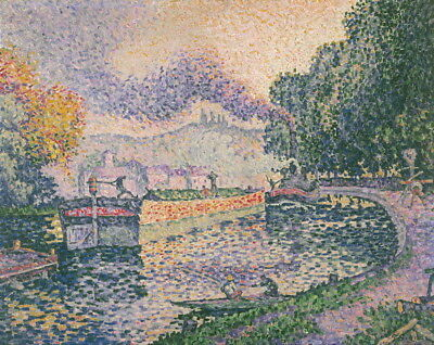Paul Signac The Tugboat Canal in Samois Giclee Canvas Print Paintings Poster
