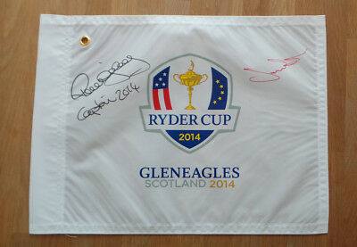 Paul McGINLEY & Jamie DONALDSON Signed Ryder Cup Golf Flag Autograph AFTAL COA