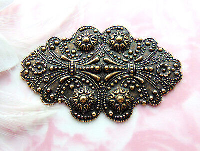 ANTIQUE BRASS Victorian Ornate Scroll Cartouche Stamping ~ Oxidized (CB-3077)