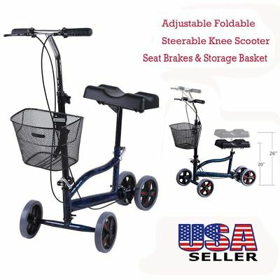 Foldable Medical Steerable Knee Walker Aid Scooter Roller Crutch Blue & Basket