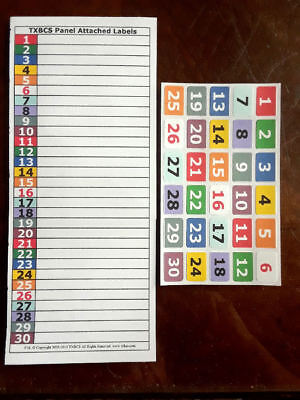 Inventory Management Organizer Numbered Color-Coded 30 Position Adhesive Labels