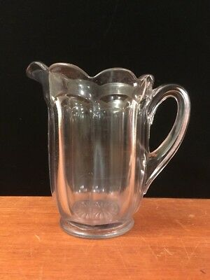 EAPG Antique Glass Water Pitcher Puritan w/ Scalloped Rim