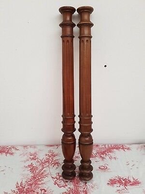 "Pair Of Antique French 27.5"" Turned And Reeded Walnut Columns - C1900"