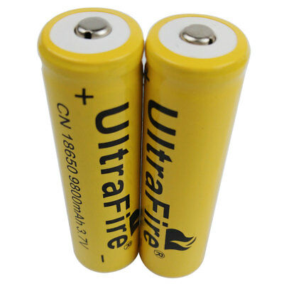 2pcs 18650 Batteries 9800mAh Li-ion 3.7V Rechargeable Battery for LED Flashlight