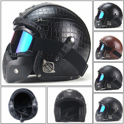US For Harley Vintage PU Leather Motorcycle Bike Helmet 3/4 Face Mask Goggle DOT