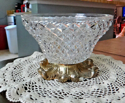 Hollywood Regency Compote Diamond Cut Crystal and Brass