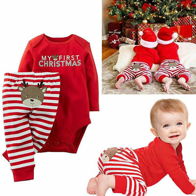 Lovely Newborn Baby Boy Girl First Christmas Clothes Romper Pants Outfit Set UK