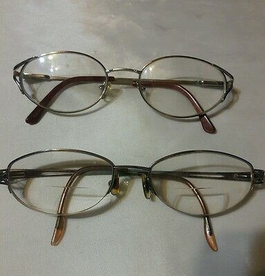 gold wire frame eyeglasses for parts or repairs   2 pair