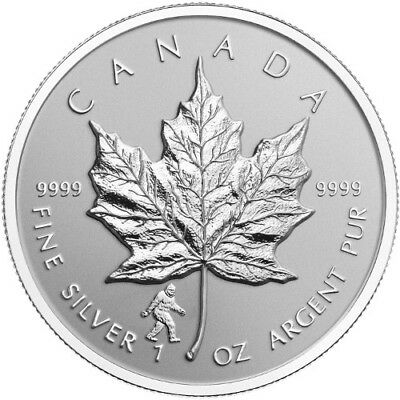Bigfoot Privy Mark Silver Maple Leaf coin Reverse Proof 2016 Canada $5 1oz