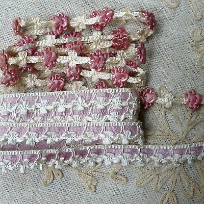 Two Yards of Antique French Rococo Flower Trim