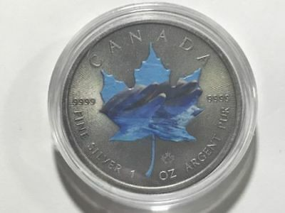 Canada Maple Dolphin Antique 2015 1Oz Ounce Canadian Silver Colorized Coin 9999