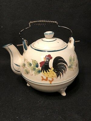 Vintage Fred Robert Ceramic ROOSTER SUNFLOWER Footed Teapot w/Wire Bail Handle