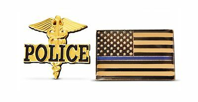2-Piece Thin Blue Line Flag & Police Lapel or Hat Pin & Tie Tack Set with Clu...