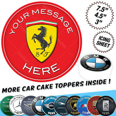 Luxury Sports Car Logo Badge Cake Topper Personalised Edible Icing